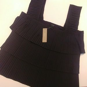 J. Crew, Black Pleated Tank Top, S